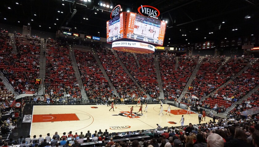 Turnstile attendance at Viejas Arena for SDSU men's basketball games has declined in recent seasons.