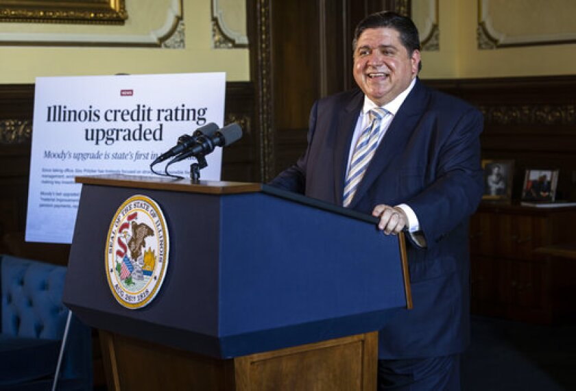 Illinois Gov. JB Pritzker discusses Moody's upgrade of the state's bond rating, the first rating upgrade from a credit rating agency in more than 20 years, during a press conference in the governor's office at the Illinois State Capitol in Springfield, Ill., Tuesday, June 29, 2021. (Justin L. Fowler/The State Journal-Register via AP)
