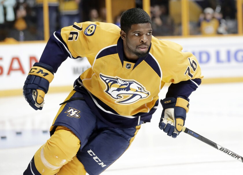 Predators defenseman P.K. Subban warms up before a preseason game against the Tampa Bay Lightning on Oct. 1.