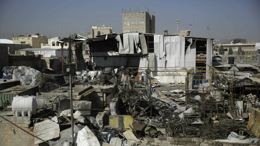 FILE - This April 10, 2019, file photo shows a view of the site of an airstrike by Saudi-led coaliti