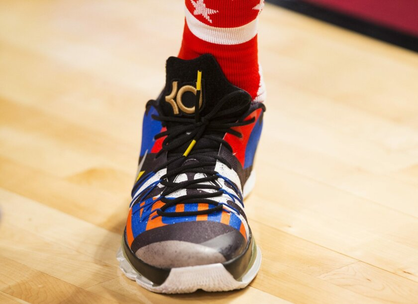 Oklahoma City Thunder forward Kevin Durant (35) custom shoes are shown during the first half of the NBA all-star basketball game, Sunday, Feb. 14, 2016 in Toronto. (Mark Blinch/The Canadian Press via AP) MANDATORY CREDIT