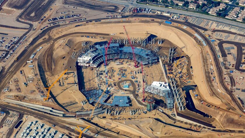 Aerial of the new LA Stadium at Hollywood Park in Inglewood which were shot week of December 24, 201