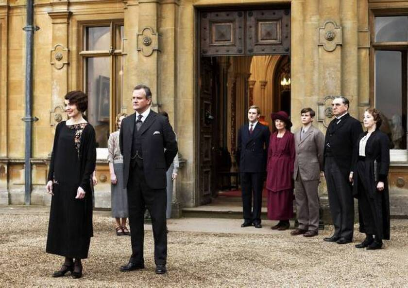 "Elizabeth McGovern, left, as Lady Grantham, Hugh Bonneville as Lord Grantham, Dan Stevens as Matthew Crawley, Penelope Wilton as Isobel Crawley, Allen Leech as Tom Branson, Jim Carter as Mr. Carson, and Phyllis Logan as Mrs. Hughes from the TV series ""Downton Abbey."""