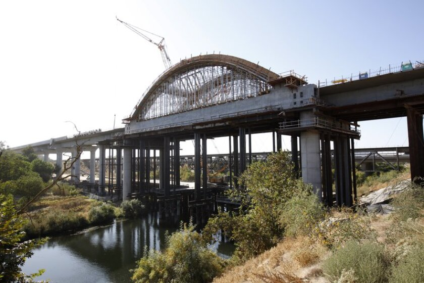 A high-speed rail viaduct under construction over the San Joaquin River near Fresno in October 2019.