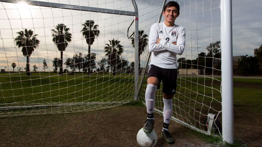 Castle Park High School boys soccer player Ivan Garduno poses for a portrait during practice on Tuesday, January 30th, 2018.