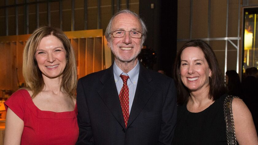 Academy CEO Dawn Hudson, left, with architect and designer of the Academy Museum Renzo Piano and academy governor Kathleen Kennedy during the 2013 inaugural celebration for the future home of the Academy Museum of Motion Pictures.
