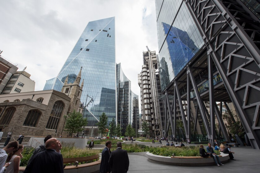 A London view taking in, from left, St. Andrew Undershaft church, the Scalpel tower, the Lloyd's building and the Leadenhall Building (also known as the Cheesegrater). Architects worry Brexit would hurt not only businesses' bottom line but also the profession's creative vitality.