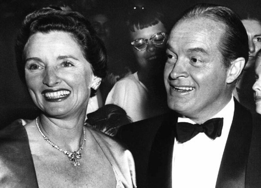 "Entertainer Bob Hope, right, and his wife Dolores attend the premiere of Hope's movie ""The Seven Little Foys"" at a Paramount Theater in Los Angeles in 1955."