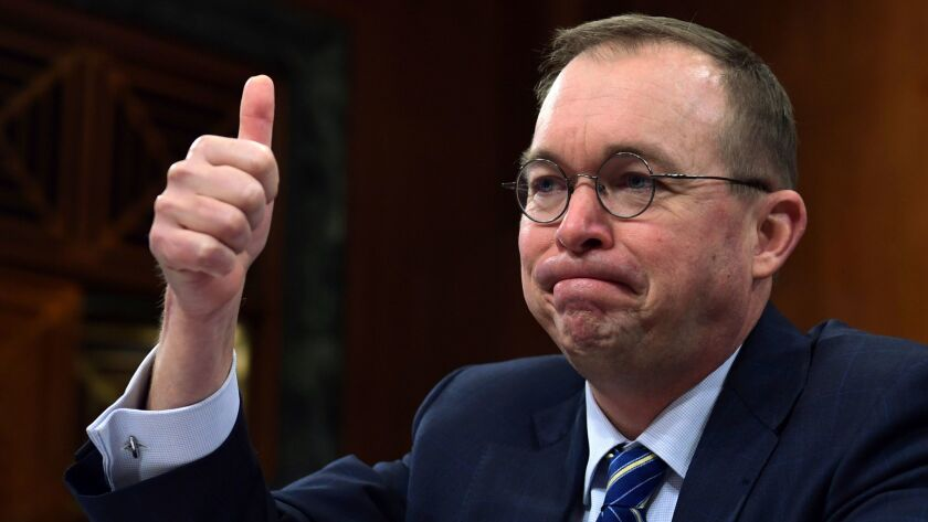 Budget Director Mick Mulvaney, seen here in congressional testimony in February, likened the Trump administration's food-box idea to Blue Apron, a service that delivers ready-to-cook meal packages to affluent consumers.
