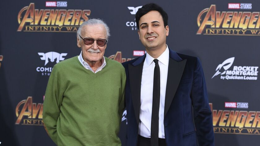 "Stan Lee, left, and Keya Morgan arrive at the world premiere of ""Avengers: Infinity War"" in Los Angeles on April 23, 2018,"