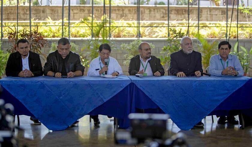 From left to right, Nicaraguan Students National Union president Luis Andino, Sandinista lawmaker Wilfredo Navarro, Nicaraguan Foreign Minister Denis Moncada, Sandinista lawmaker Edwin Castro, Supreme Court Justice Francisco Rosales and Sandinista lawmaker Jose Figueroa participate in a press conference on March 18, 2019, in Managua. EFE-EPA/Jorge Torres