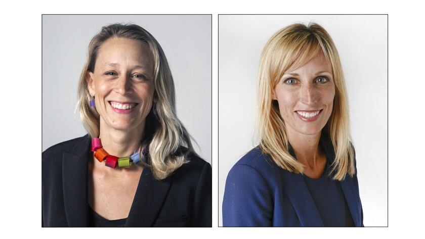 Portraits of District 3 supervisor candidates Terra Lawson-Remer and Kristin Gaspar.