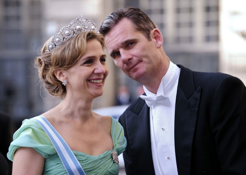 A picture taken on June 19, 2010, shows Infanta Cristina of Spain and her husband, Inaki Urdangarin, arriving at a banquet in Stockholm.