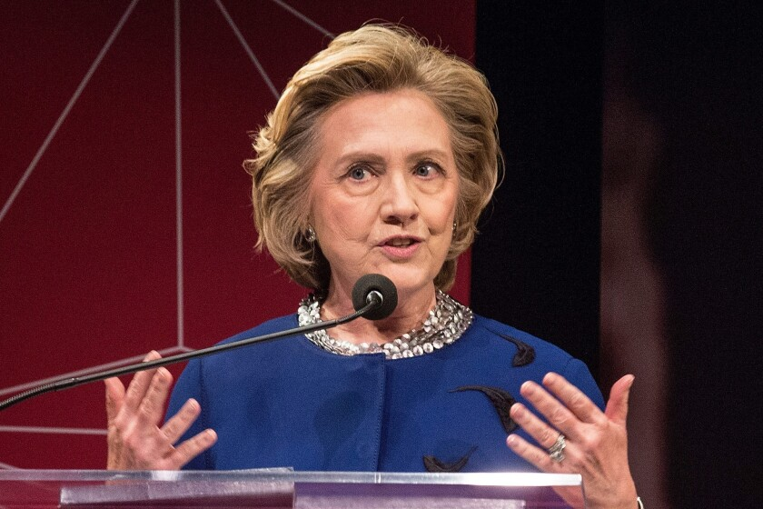 """Too many young women are harder on themselves than circumstances warrant,"" said former Secretary of State Hillary Rodham Clinton on Thursday night."