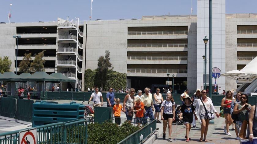 ANAHEIM CA. JULY 18, 2017: The giant Disney parking structure at 1313 Disneyland Drive in Anaheim a