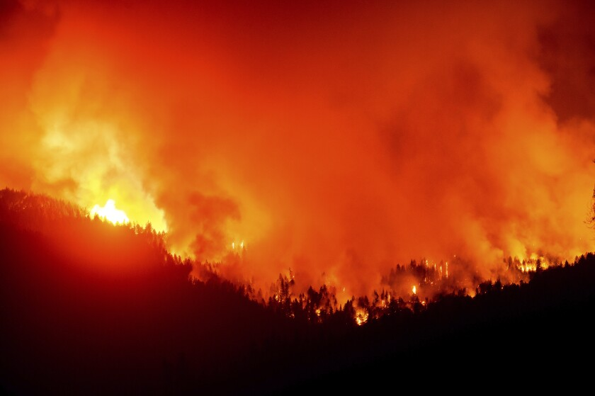 The August Complex fire burns in Mendocino National Forest on Sept. 16, 2020.