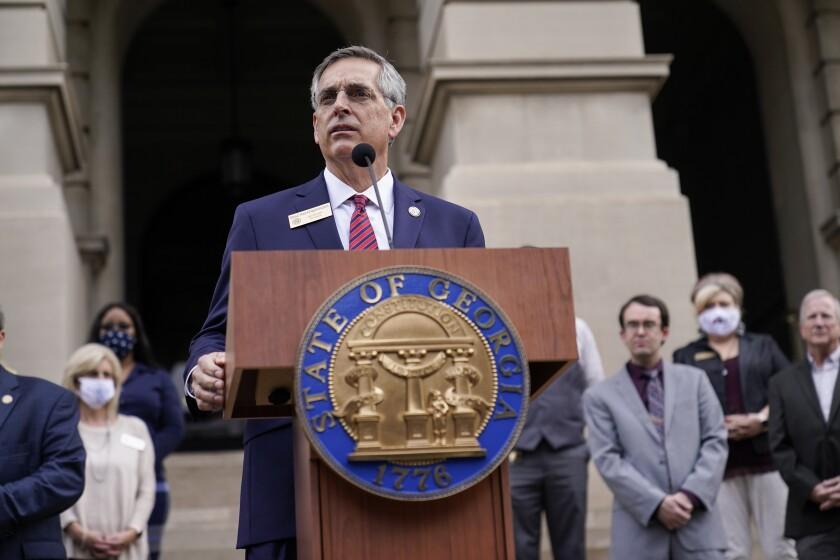 Georgia Secretary of State Brad Raffensperger speaks.