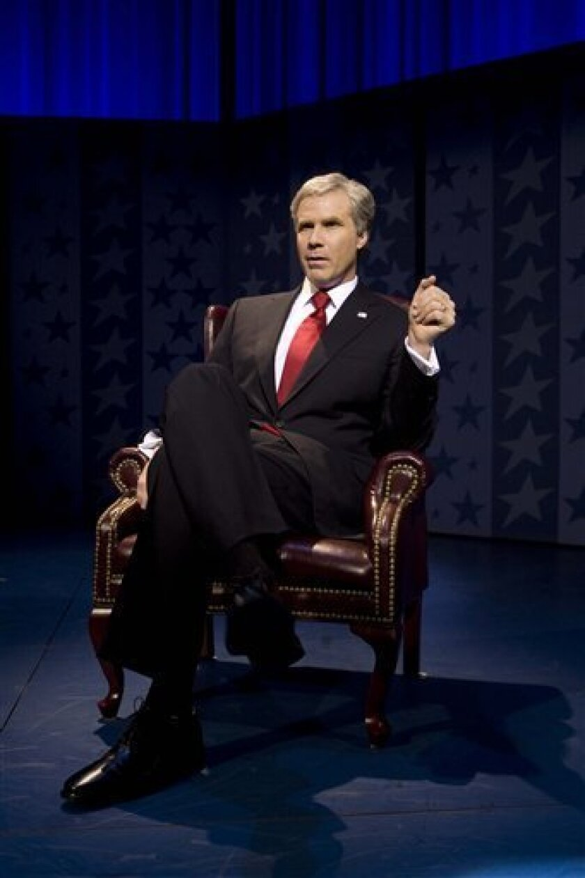 "This photo released by Jeffrey Richards Associates shows Will Ferrell who wrote and stars in ""You're Welcome America. A Final Night with George W. Bush,"" now playing at Broadway's Cort Theatre. (AP Photo/Jeffery Richards Associates,Robert J. Saferstein)*NO SALES**"