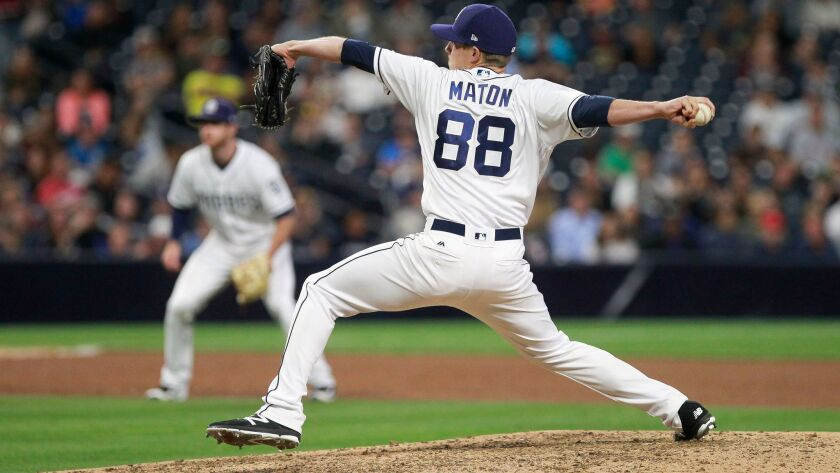 SAN DIEGO, June 28, 2017 | The Padres' Phil Maton pitches to Atlanta during the sixth inning at Petc
