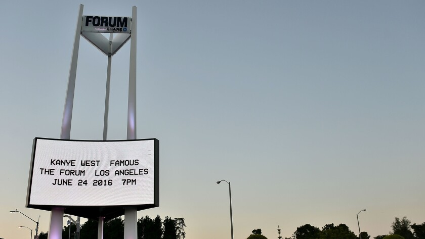 """The marquee for the Kanye West video premiere for """"Famous"""" is displayed outside of Forum on Friday."""