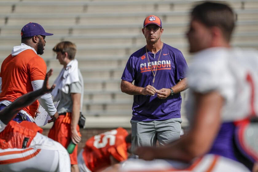 Clemson head football coach Dabo Swinney at practice at Memorial Stadium.