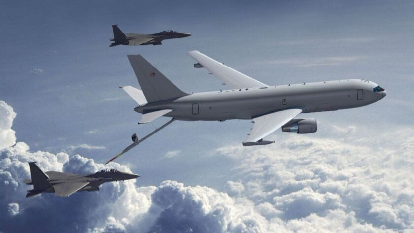 A Boeing KC-46A tanker refuels F-15s in 2011. Boeing suffered from higher costs in the third quarter because of its KC-46 Tanker aerial refueling aircraft, but it scored a string of multibillion-dollar long-term military contract wins.