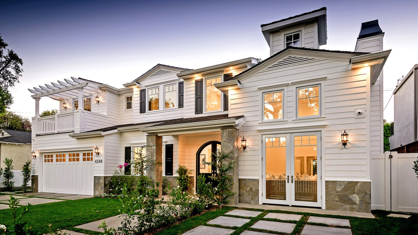 The Cape Cod-inspired two-story at 4248 Babcock Ave., Studio City, is listed at $2,999,950.