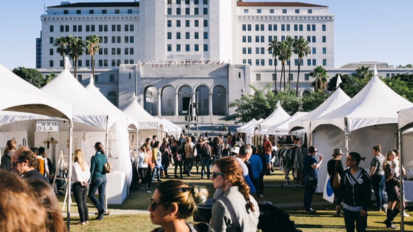Shop for local goods outdoors at the Renegade Craft Fair at Grand Park in downtown Los Angeles.