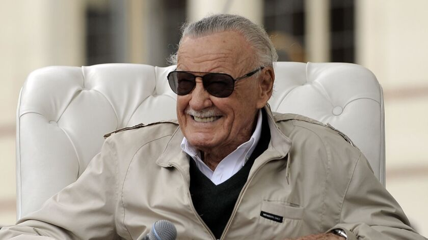 Stan Lee is interviewed at the Los Angeles Times Festival of Books on April 9, 2016.