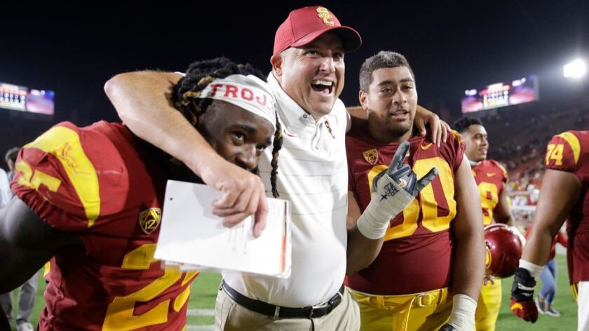 Clay Helton, Ronald Jones II, Viane Talamaivao