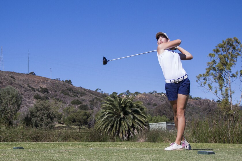 Rachel Thompson of San Marcos tees off on the 11th hole at Admiral Baker golf course. Chadd Cady / San Diego Union-Tribune