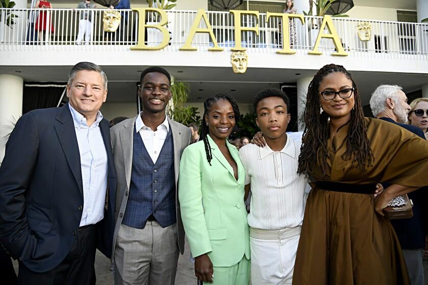 Ted Sarandos, from left, Ethan Herisse, Marsha Stephanie Blake, Asante Blackk and Ava DuVernay attend the BAFTA Los Angeles + BBC America TV Tea Party on Saturday at the Beverly Hilton Hotel.