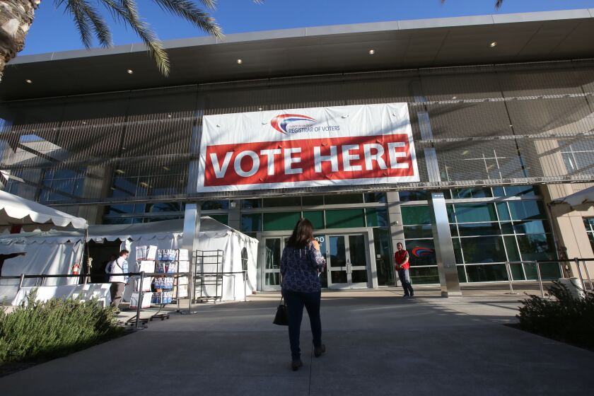 Voting began in San Diego as voters trickled into the Registrar of Voters Office in Kearny Mesa in March 2020.