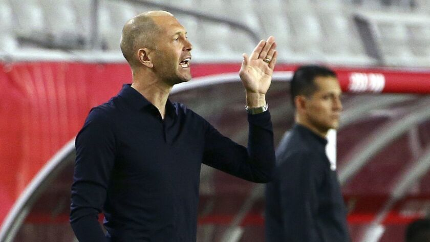 United States head coach Gregg Berhalter shouts instructions to his players during the first half of a men's international friendly soccer match against Panama on Jan. 27 in Phoenix.