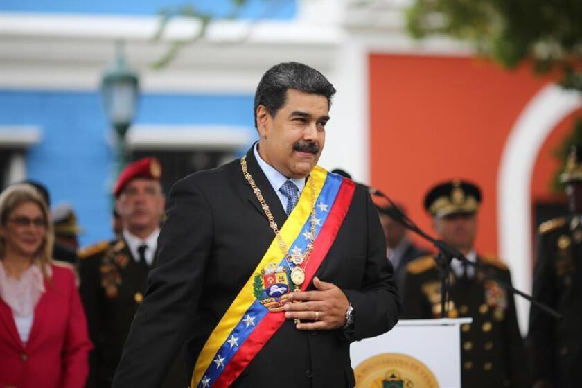 The Venezuelan government provided this photo of President Nicolas Maduro taking part in an event in Ciudad Bolivar on Friday, Feb. 15. EFE-EPA/Prensa Miraflores/EDITORIAL USE ONLY