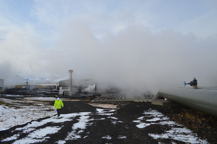 Iceland's Hellisheidi geothermal power plant, the world's largest, is cleaner than those that run on fossil fuels, but it still emits carbon dioxide by venting volcanic gases.