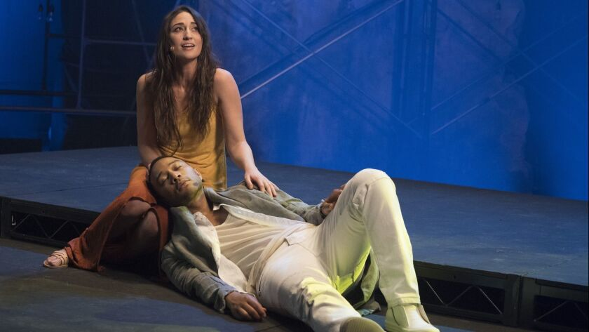 This image released by NBC shows, John Legend as Jesus Christ, and Sara Bareilles as Mary Magdalene