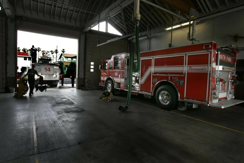 The engine company at Station 14 in North Park, shown last month, has been part of San Diego's brownout plan that calls for idling up to eight fire engines per day to save on overtime pay.
