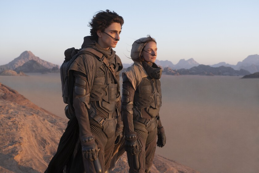 "Timothée Chalamet and Rebecca Ferguson in ""Dune."""