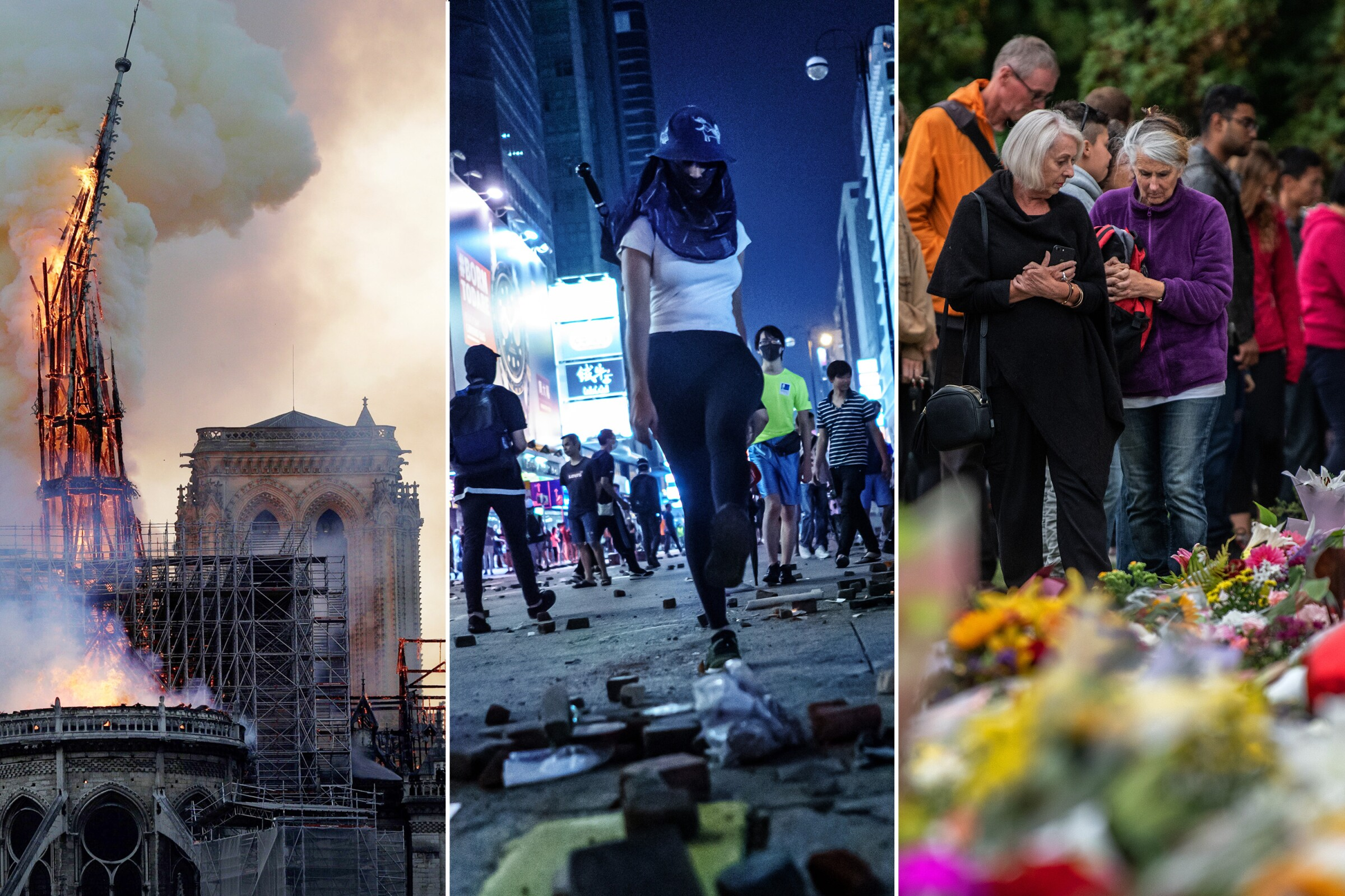 Notre Dame Cathedral fire, protests in Hong Kong, a memorial in New Zealand