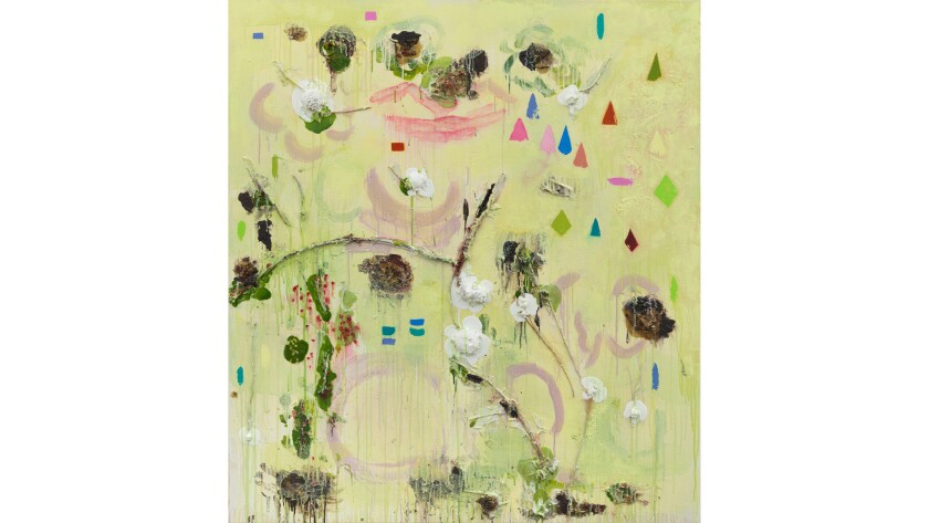 """""""Womansong,"""" 2016, by Joan Snyder, from the artist's first L.A. solo show at Parrasch-Heijnen."""