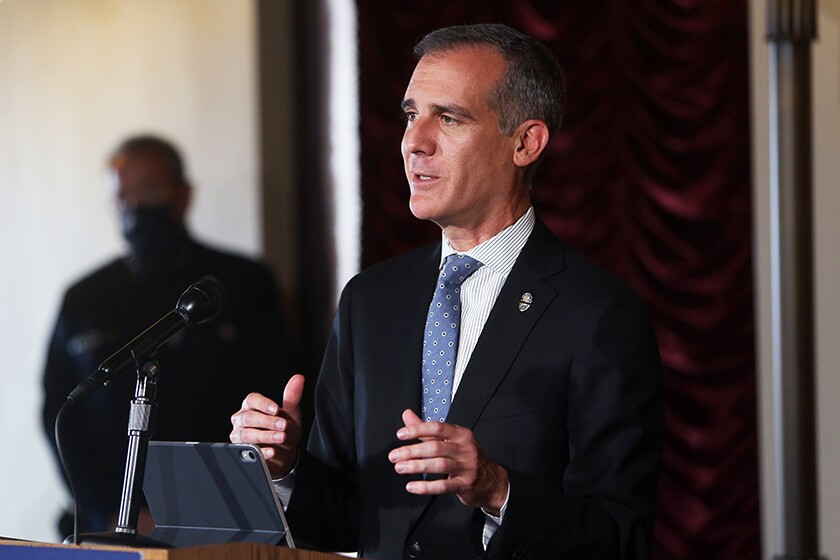 Los Angeles Mayor Eric Garcetti at a news conference in July.