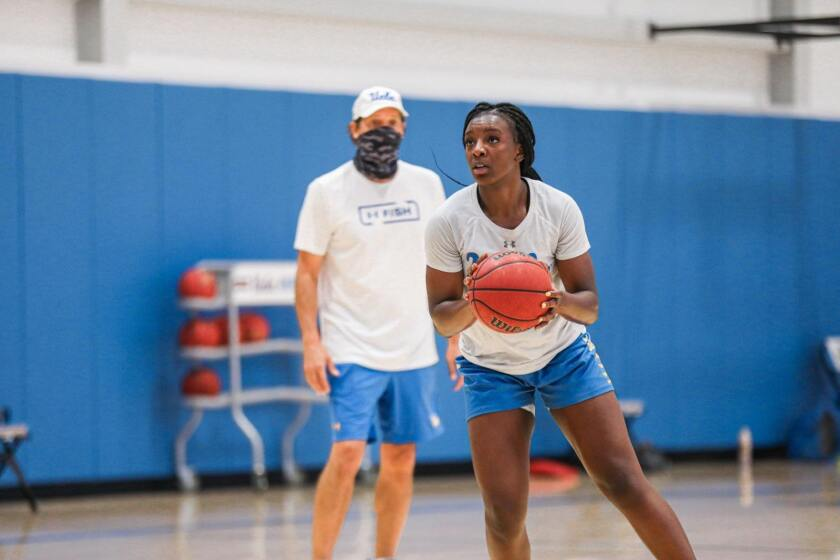 Senior forward Michaela Onyenwere takes part in UCLA basketball's first fall practice Wednesday at the Mo Ostin Center.