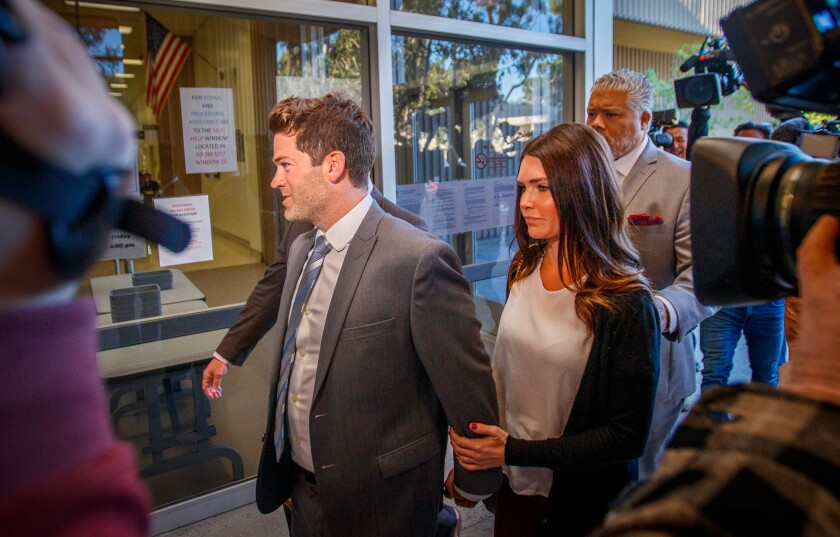 Grant Robicheaux and Cerissa Riley at the Newport Beach courthouse Friday morning.