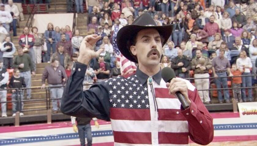 British comedian Sacha Baron Cohen plays Borat, a fictional Kazakh journalist.