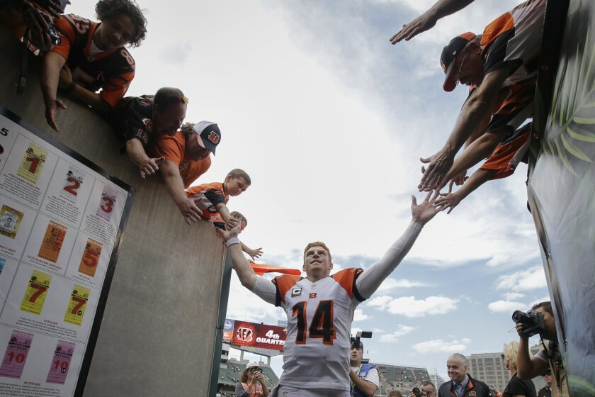Cincinnati Bengals quarterback Andy Dalton (14) celebrates with fans after an NFL football game against the San Diego Chargers, Sunday, Sept. 20, 2015, in Cincinnati. The Bengals won 24-19. (AP Photo/Darron Cummings)