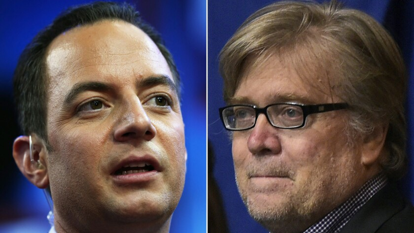 Republican National Committee Chairman Reince Priebus, left, and Trump campaign Chief Executive Officer Stephen K. Bannon.