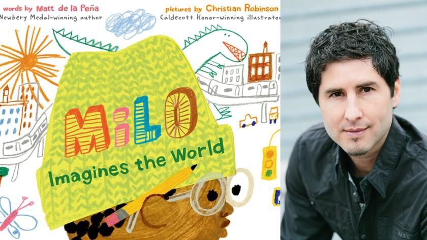 "San Diego author Matt de la Pena and his new book, ""Milo Imagines the World"""