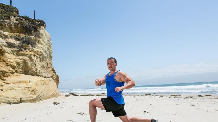 Fit trainer Brian Mahon demonstrates some beach body exercises. (Brogen Jessup)