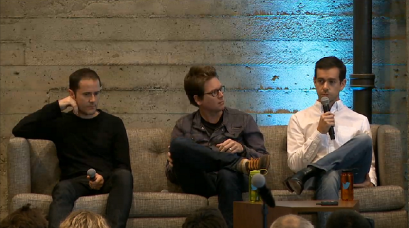 Twitter founders Evan Williams from left, Biz Stone and Jack Dorsey address an all-hands meeting at Twitter headquarters in San Francisco ahead of the IPO.